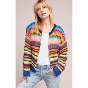 Anthropologie Moth Betty Crochet Rainbow Cardigan